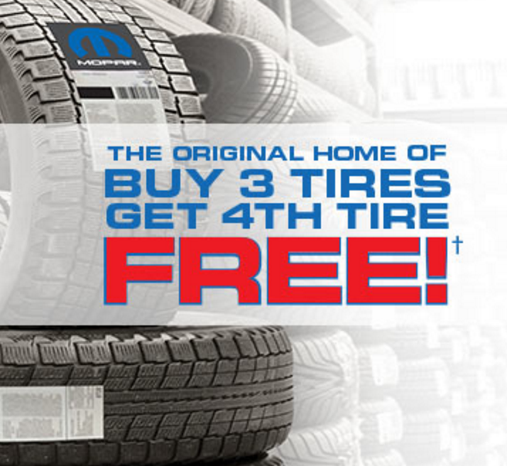Canadian Tire: Buy 3 Tires Get 1 Free. 19 January By Krista White. The bad winter roads seem to be all over Canada right now, and the safest thing you can do for yourself and your family is to have a good set of tires for your vehicle.